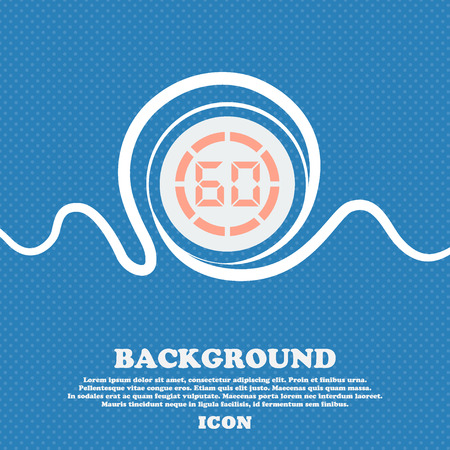 min: 60 second stopwatch icon sign. Blue and white abstract background flecked with space for text and your design. Vector illustration Illustration
