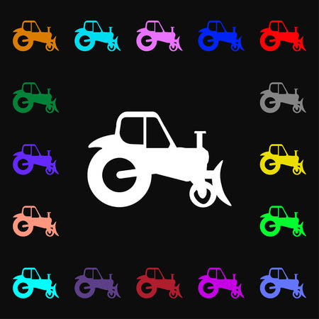agronomy: Tractor icon sign. Lots of colorful symbols for your design. Vector illustration