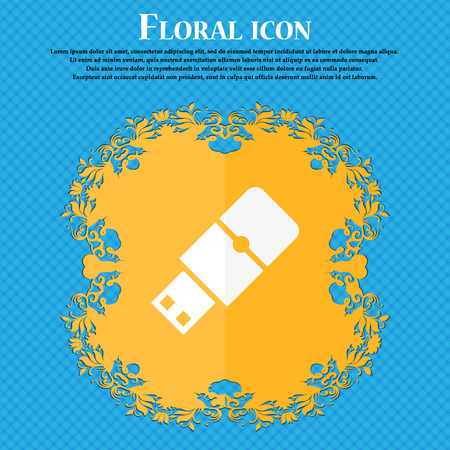 pocket pc: USB flash icon. Floral flat design on a blue abstract background with place for your text. Vector illustration