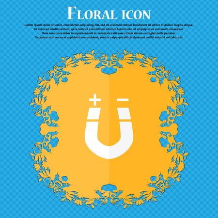 magnetismo: magnete a ferro di cavallo, il magnetismo, magnetizzare, attrazione icona. design piatto floreale su sfondo blu astratto con posto per il testo. illustrazione di vettore