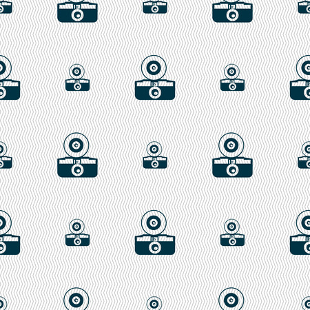 optical image: retro photo camera icon sign. Seamless pattern with geometric texture. Vector illustration