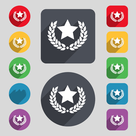 merit: Star award icon sign. A set of 12 colored buttons and a long shadow. Flat design. Vector illustration Illustration