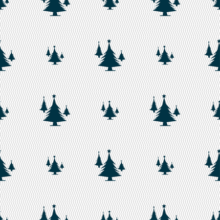 coniferous forest: coniferous forest, tree, fir-tree icon sign. Seamless pattern with geometric texture. Vector illustration Vectores