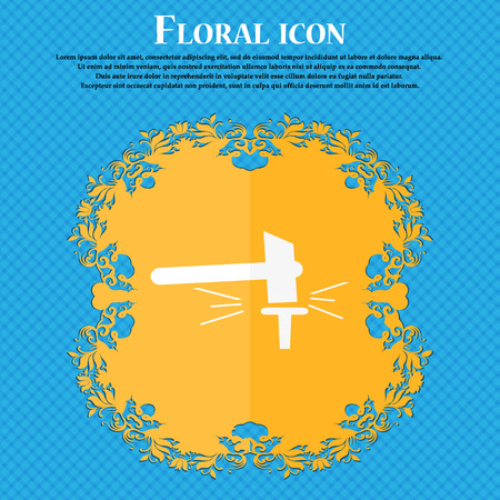 labor strong: The smithy. Forge and stithy, blacksmith icon. Floral flat design on a blue abstract background with place for your text. Vector illustration