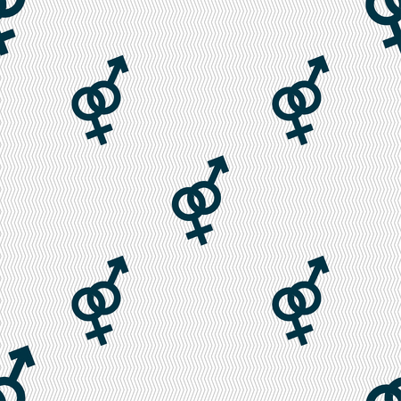 heterosexual: Male and female icon sign. Seamless pattern with geometric texture. Vector illustration Illustration
