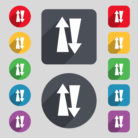 two way traffic: Two way traffic, icon sign. A set of 12 colored buttons and a long shadow. Flat design. Vector illustration