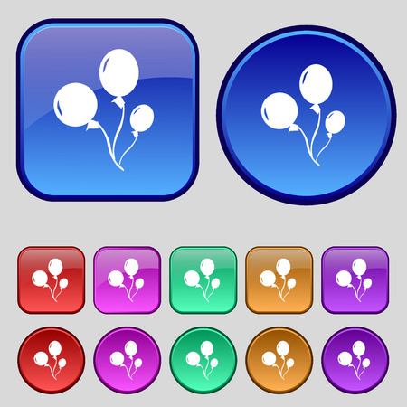 large group of object: Balloons icon sign. A set of twelve vintage buttons for your design. Vector illustration Illustration
