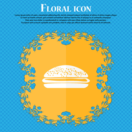 lunchroom: Burger, hamburger icon. Floral flat design on a blue abstract background with place for your text. Vector illustration Illustration
