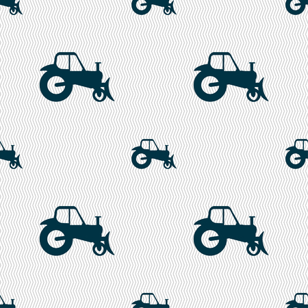 Tractor icon sign. Seamless pattern with geometric texture. Vector illustration