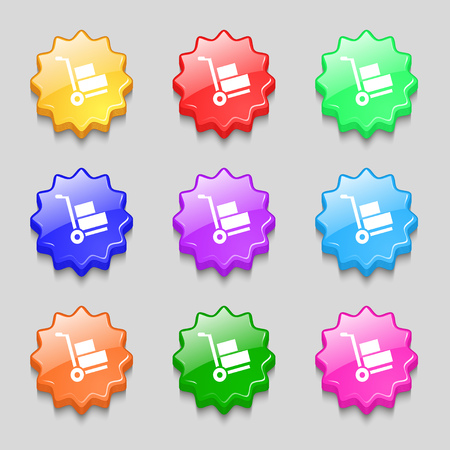 warehousing: Loader icon sign. symbol on nine wavy colourful buttons. Vector illustration