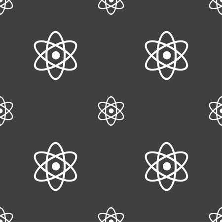 atomic nucleus: Atom, physics icon sign. Seamless pattern on a gray background. Vector illustration