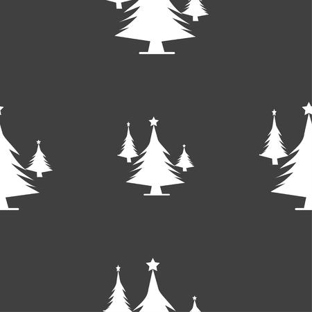 coniferous forest: bosques de con�feras, �rbol, �rbol de abeto icono de la muestra. patr�n transparente sobre un fondo gris. ilustraci�n vectorial Vectores