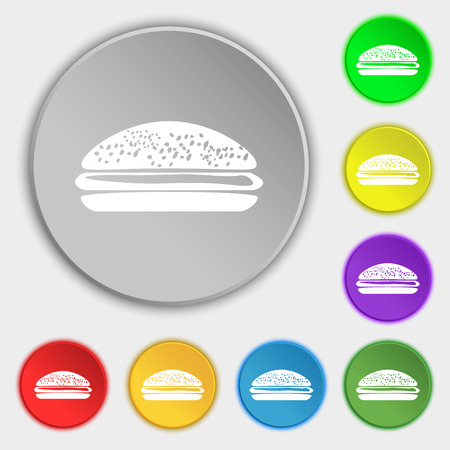 lunchroom: Burger, hamburger icon sign. Symbol on eight flat buttons. Vector illustration Illustration