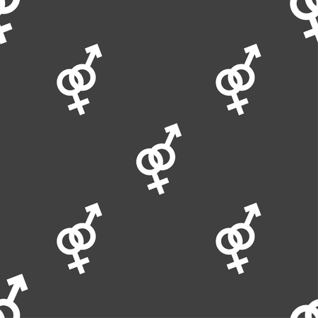 womanhood: Male and female icon sign. Seamless pattern on a gray background. Vector illustration
