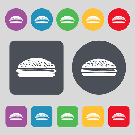 lunchroom: Burger, hamburger icon sign. A set of 12 colored buttons. Flat design. Vector illustration