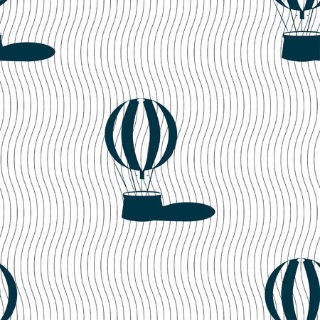 ballooning: Hot air balloon icon sign. Seamless pattern with geometric texture. Vector illustration Illustration