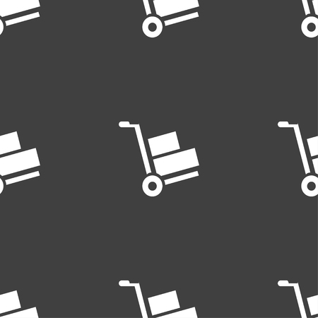 hydraulic platform: Loader icon sign. Seamless pattern on a gray background. Vector illustration Illustration