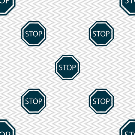 drive ticket: Stop icon sign. Seamless pattern with geometric texture. Vector illustration