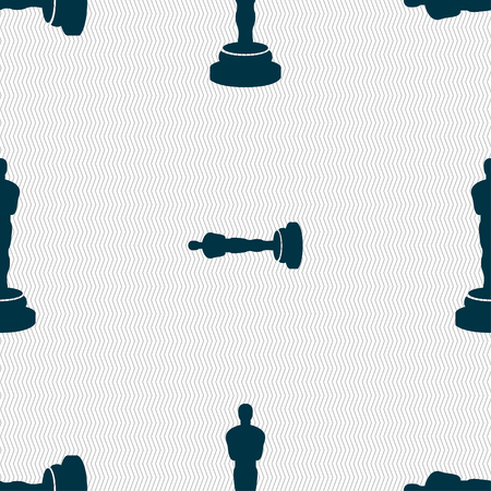 oscar: Oscar statuette icon sign. Seamless pattern with geometric texture. Vector illustration