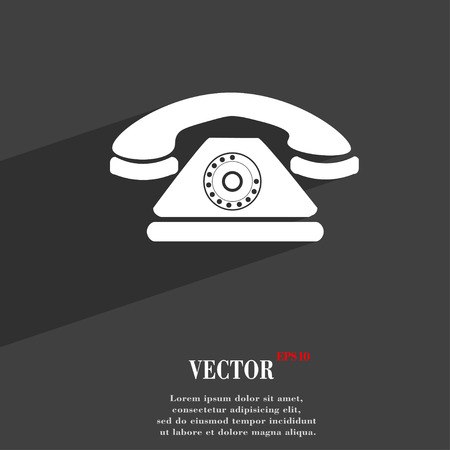 Retro Telephone Symbol Flat Modern Web Design With Long Shadow
