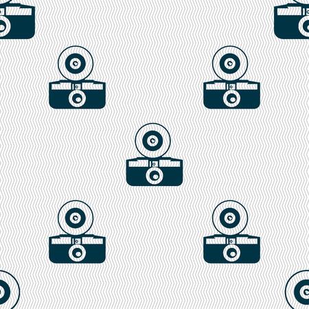 reflex camera: retro photo camera icon sign. Seamless pattern with geometric texture. Vector illustration