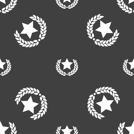 merit: Star award icon sign. Seamless pattern on a gray background. Vector illustration