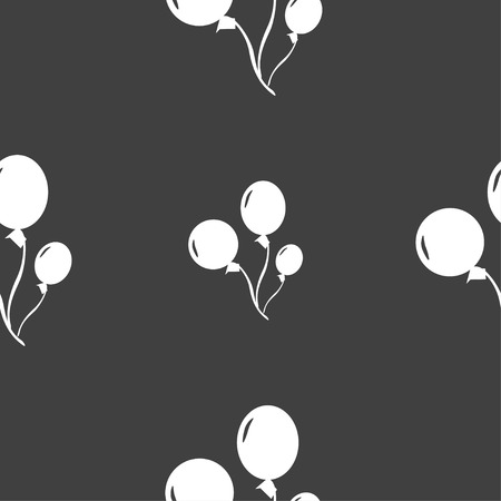 Balloons icon sign. Seamless pattern on a gray background. Vector illustration Çizim