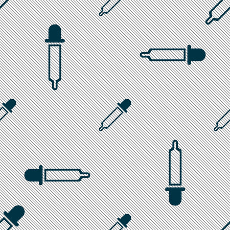 Pipette icon sign. Seamless pattern with geometric texture. Vector illustration