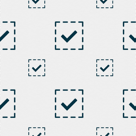 tik: Check mark, tik icon sign. Seamless pattern with geometric texture. Vector illustration