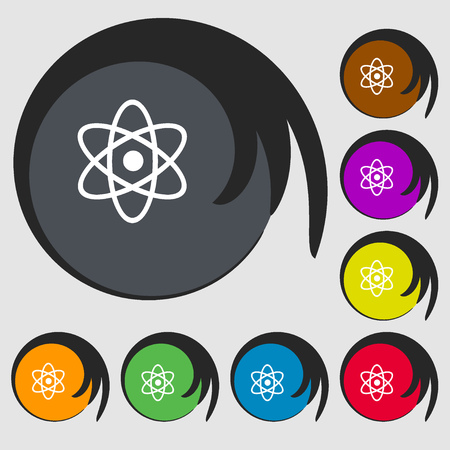 atomic nucleus: Atom, physics sign icon. Symbols on eight colored buttons. Vector illustration Illustration