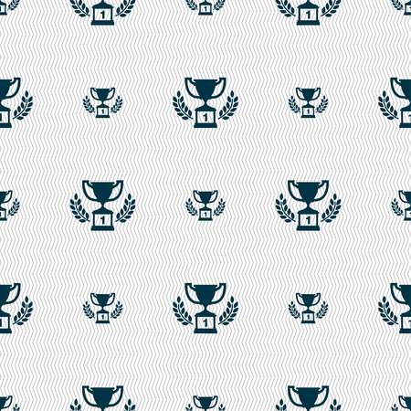 Champions cup, Trophy icon sign. Seamless pattern with geometric texture. Vector illustration