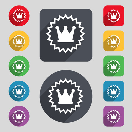 rown: ?rown icon sign. A set of 12 colored buttons and a long shadow. Flat design. Vector illustration