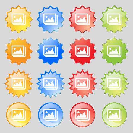 jpeg: images, jpeg, photograph icon sign. Big set of 16 colorful modern buttons for your design. Vector illustration Illustration