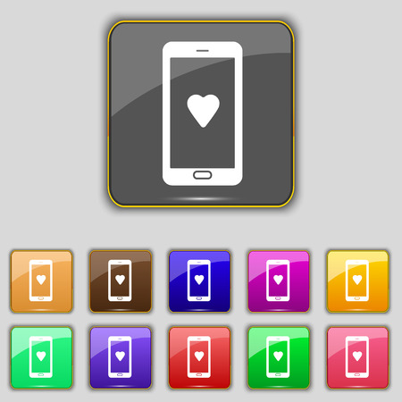 pals: Love letter, valentine day, billet-doux, romantic pen pals icon sign. Set with eleven colored buttons for your site. Vector illustration