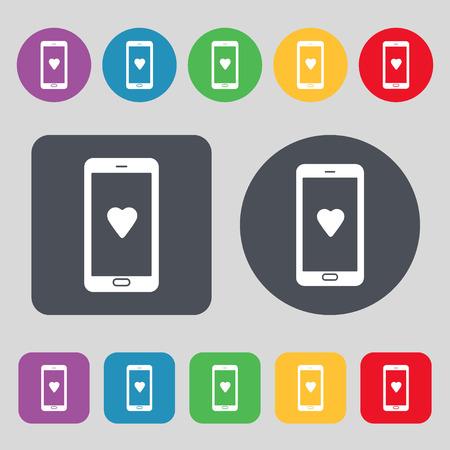 pals: Love letter, valentine day, billet-doux, romantic pen pals icon sign. A set of 12 colored buttons. Flat design. Vector illustration