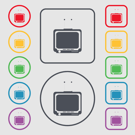 tvset: TV icon sign. symbol on the Round and square buttons with frame. Vector illustration