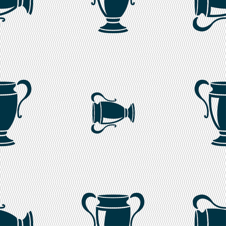victor: Trophy icon sign. Seamless pattern with geometric texture. Vector illustration