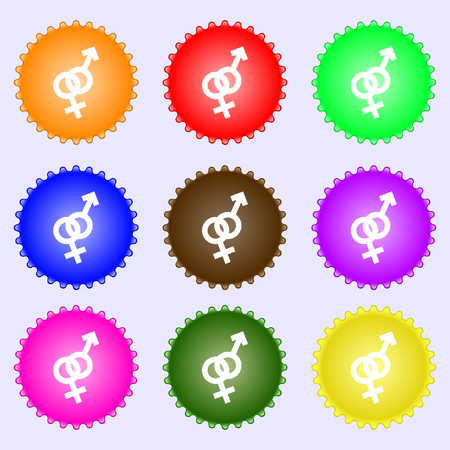 womanhood: Male and female icon sign. Big set of colorful, diverse, high-quality buttons. Vector illustration
