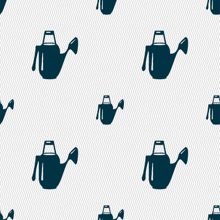 seeding: Watering can icon sign. Seamless pattern with geometric texture. Vector illustration Illustration