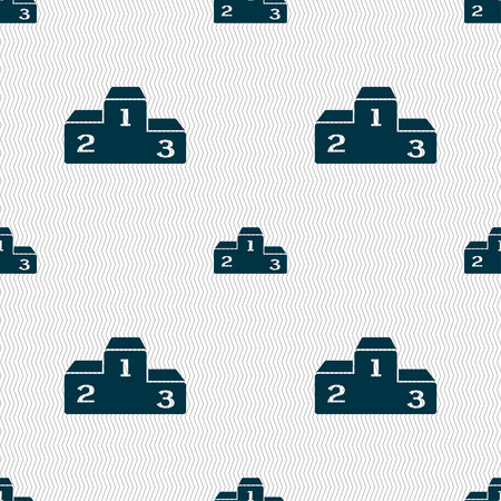 unlucky: Podium icon sign. Seamless pattern with geometric texture. Vector illustration