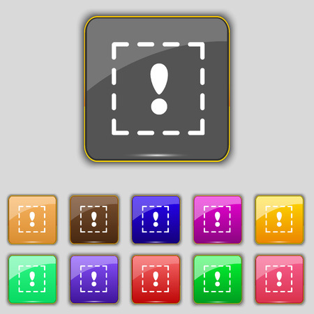 your point: The exclamation point in a square icon sign. Set with eleven colored buttons for your site. Vector illustration