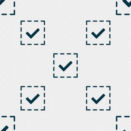 tik: Check mark, tik icon sign. Seamless pattern with geometric texture. Vector illustration