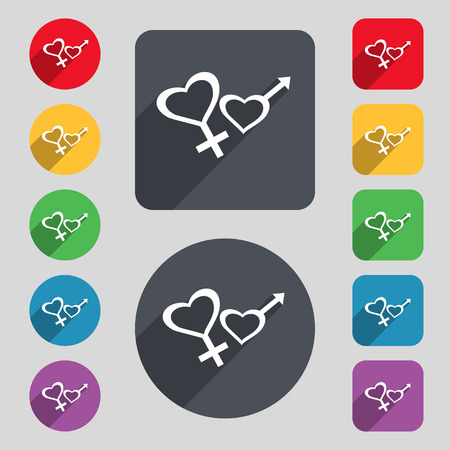 womanhood: Male and female icon sign. A set of 12 colored buttons and a long shadow. Flat design. Vector illustration Illustration
