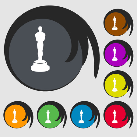 statuette: Oscar statuette sign icon. Symbols on eight colored buttons. Vector illustration Illustration