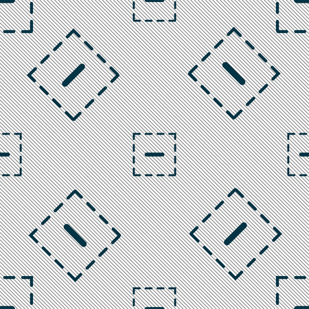 The minus in a square icon sign. Seamless pattern with geometric texture. Vector illustration