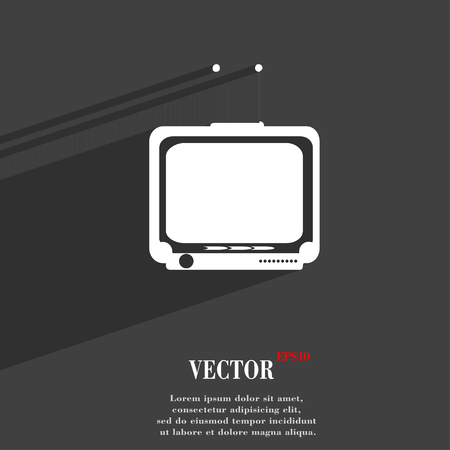 tvset: TV symbol Flat modern web design with long shadow and space for your text. Vector illustration