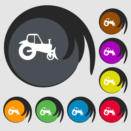 tractor sign: Tractor sign icon. Symbols on eight colored buttons. Vector illustration