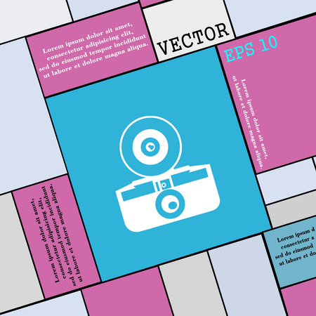 reflex camera: retro photo camera icon sign. Modern flat style for your design. Vector illustration