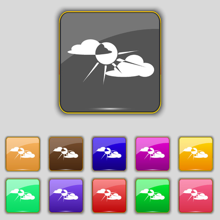 behind: sun behind cloud icon sign. Set with eleven colored buttons for your site. Vector illustration