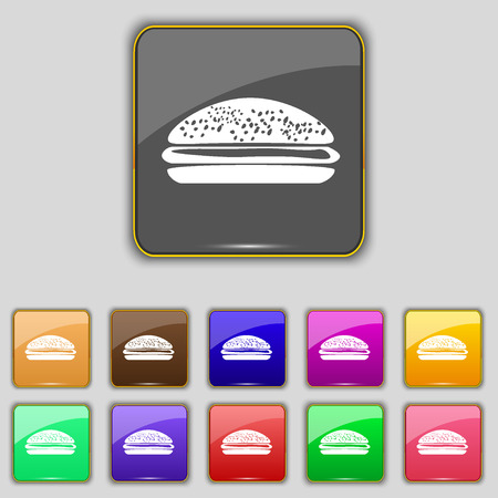 lunchroom: Burger, hamburger icon sign. Set with eleven colored buttons for your site. Vector illustration Illustration